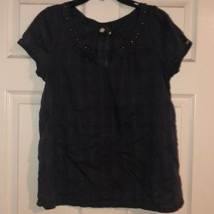 Dark blue top with metal detail